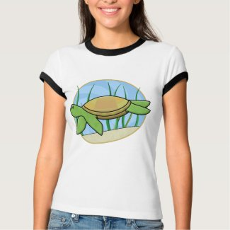 Kawaii Sea Turtle Ladies Ringer T-Shirt shirt