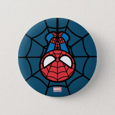 Kawaii Spider-Man Hanging Upside Down Button