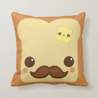 Kawaii toast with mustache and cute butter throw pillow ...