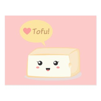 Kawaii tofu asking people to love tofu postcards