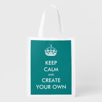 Keep Calm and Carry On Create Your Own | White Grocery Bags