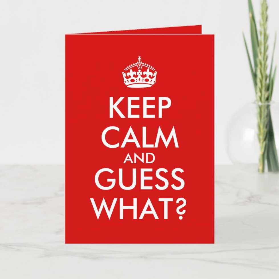 Keep Calm Grandma Greeting Card Pregnancy Announce