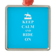 Keep calm & ride on (light blue) christmas tree ornaments