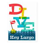 Key Largo Dive - Colorful Scuba Postcard