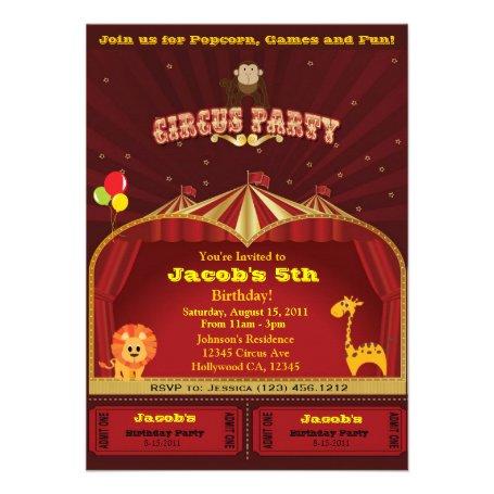 Kid's Circus Birthday Party Invites