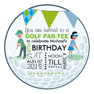 Kids Golf Theme Birthday Party Customize Add Photo Invitation