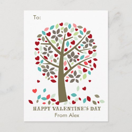 Kids School Classroom Valentine Cards Modern Tree