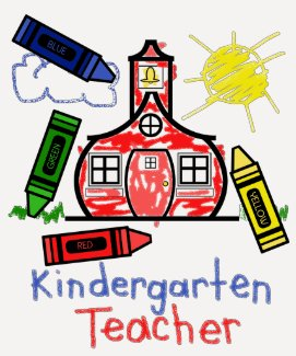 Kindergarten Teacher T Shirt- Schoolhouse & Crayon