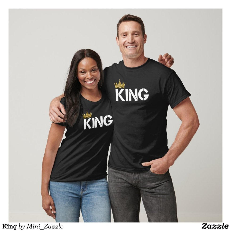 Gold Crown King and Queen Couple Shirts