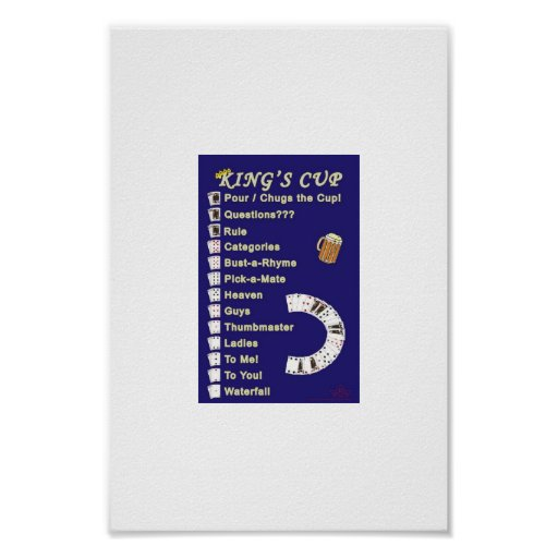 Kings Cup Drinking Game Rules Poster  Zazzle