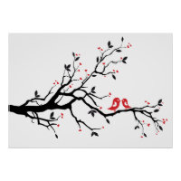 Kissing bird on tree branch with red heart leaves poster