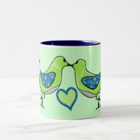 Kissing birdies personalized Two-Tone coffee mug