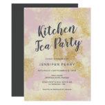 Kitchen Tea Party Invitation - Pink gold glitter