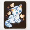 Kitten with Hearts & Swirls Brown Bg zazzle_mousepad