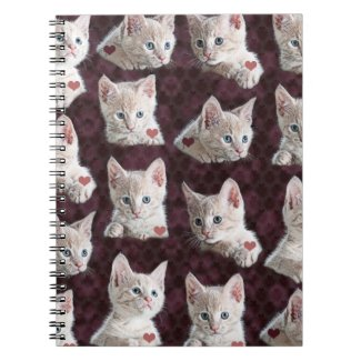Kitty Cat Faces Pattern With Hearts Image Notebooks