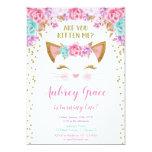 Kitty cat kitten pink gold glitter birthday party invitation