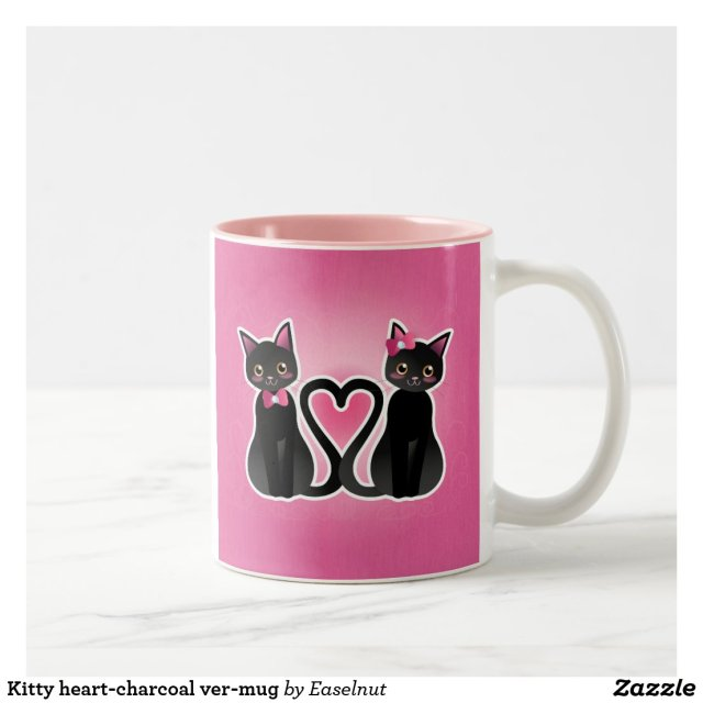 Kitty heart-charcoal ver-mug Two-Tone coffee mug