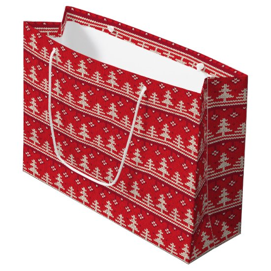 Knitted Christmas Nordic Pattern Large Gift Bag