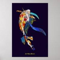 Koi fish in Space Wall Decor Artistic Picture Poster | Zazzle