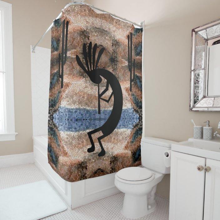 kokopelli southwest desert mosaic shower curtain zazzle com