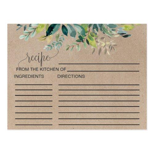 Kraft Foliage Bridal Shower Recipe Cards