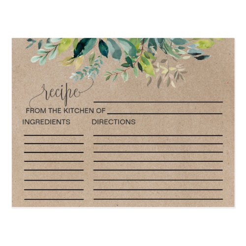 Kraft Foliage Bridal Shower Recipe Cards