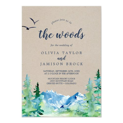 Kraft Join Us In The Woods Destination Wedding Invitation