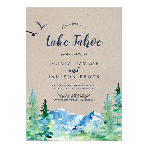 Kraft Lake Tahoe Mountain Destination Wedding Invitation