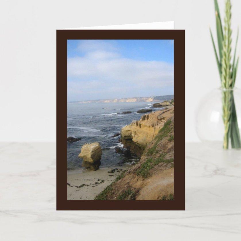 La Jolla Cove Beach Seabirds Custom Greeting Card
