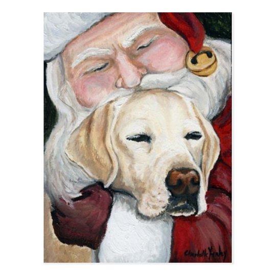 Lab Gets Santa Hugs Art Christmas Postcard