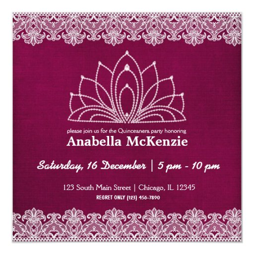 Lace Quinceanera (Maroon) Card