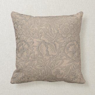 Lace Wallpaper Taupe Throw Pillow