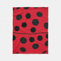 Lady Bug Red and Black Design Fleece Blanket