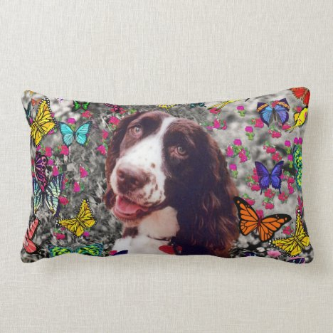 Lady in Butterflies  - Brittany Spaniel Dog Lumbar Pillow