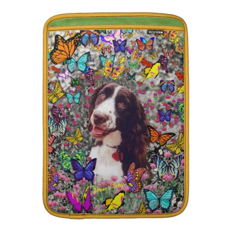 Lady in Butterflies  - Brittany Spaniel Dog MacBook Air Sleeve