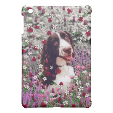 Lady in Flowers - Brittany Spaniel Dog Cover For The iPad Mini
