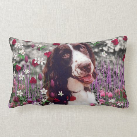 Lady in Flowers - Brittany Spaniel Dog Lumbar Pillow