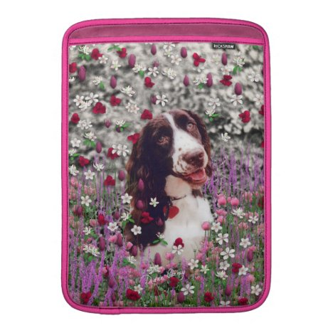 Lady in Flowers - Brittany Spaniel Dog MacBook Air Sleeve