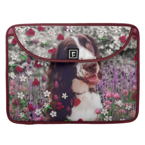 Lady in Flowers - Brittany Spaniel Dog Sleeve For MacBooks