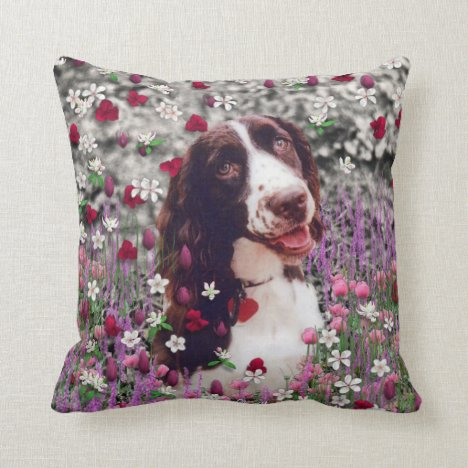 Lady in Flowers - Brittany Spaniel Dog Throw Pillow