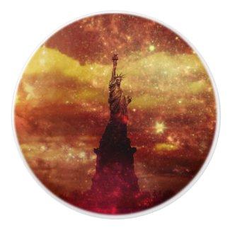 Lady Liberty red and yellow stars Ceramic Knob