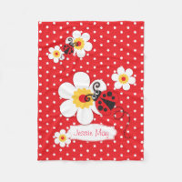 Ladybird ladybug flowers graphic red name blanket