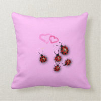 Ladybirds and hearts throw pillow