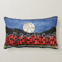 Ladybug Family Moon Night Designer Accent Pillow