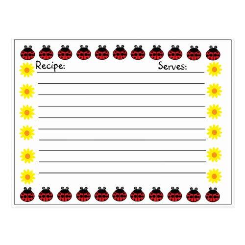 Ladybug Recipe Card