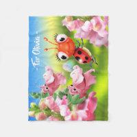 Ladybug & Snap Dragons fleece blanket