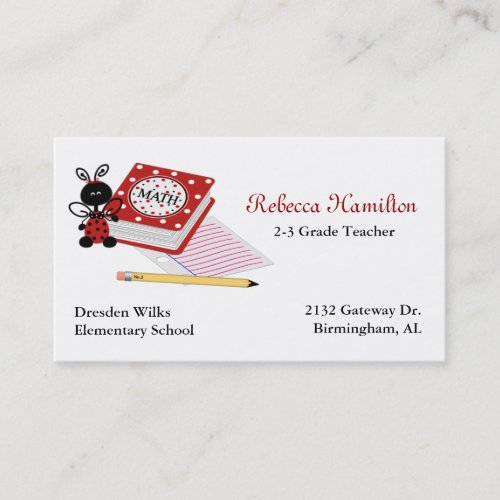 Ladybug with Book Teacher's Business Card
