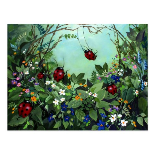 Ladybugs At Play Postcard by Golders' Stuff