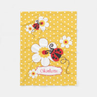 Ladybugs flowers graphic yellow name blanket