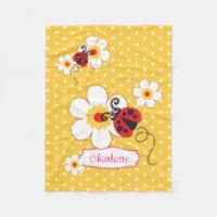 Ladybugs flowers graphic yellow name blanket